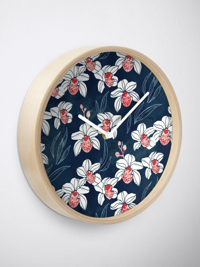 Alternate view of Orchid garden in white and peach on navy blue Clock