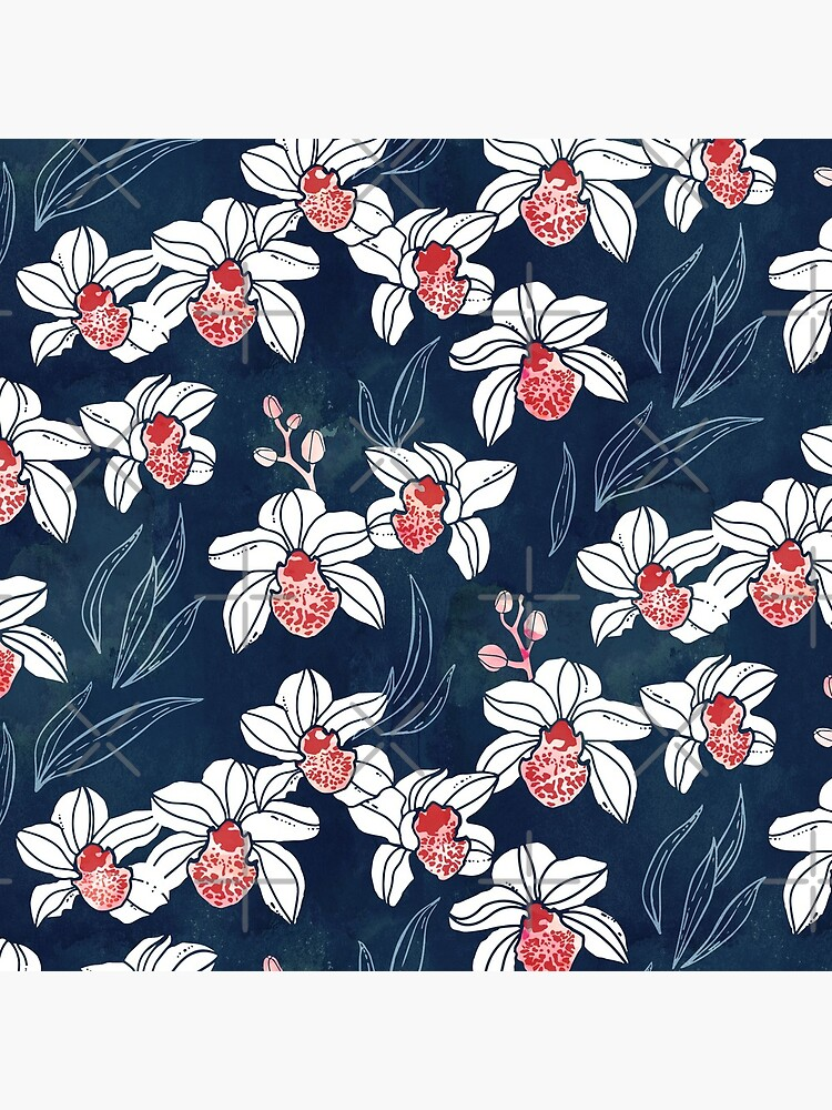 Orchid garden in white and peach on navy blue by adenaJ