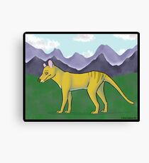Thylacine and Mountains Canvas Print