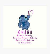 Lilo and Stitch Ohana Art Print
