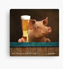 Will Bullas / art print / beer ... because you cant drink bacon... / humor / animals Canvas Print