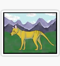 Thylacine and Mountains Sticker