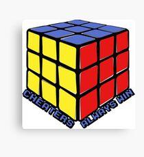 Cheaters Always Win Rubik's Cube Canvas Print