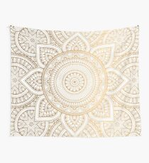 Gold Mandala Pattern Illustration With White Shimmer Wall Tapestry