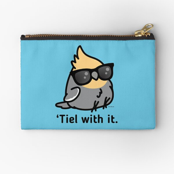 'Tiel with it - Grey Cockatiel Zipper Pouch