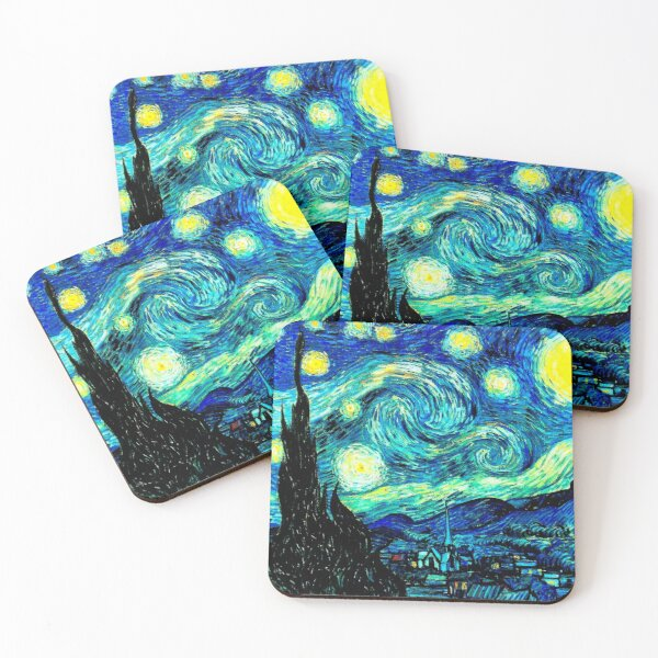 STARRY NIGHT: Vincent Van Gogh Famous Painting Print  Coasters (Set of 4)