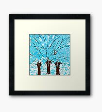 Abstract Trees are Blue White and Brown Framed Print