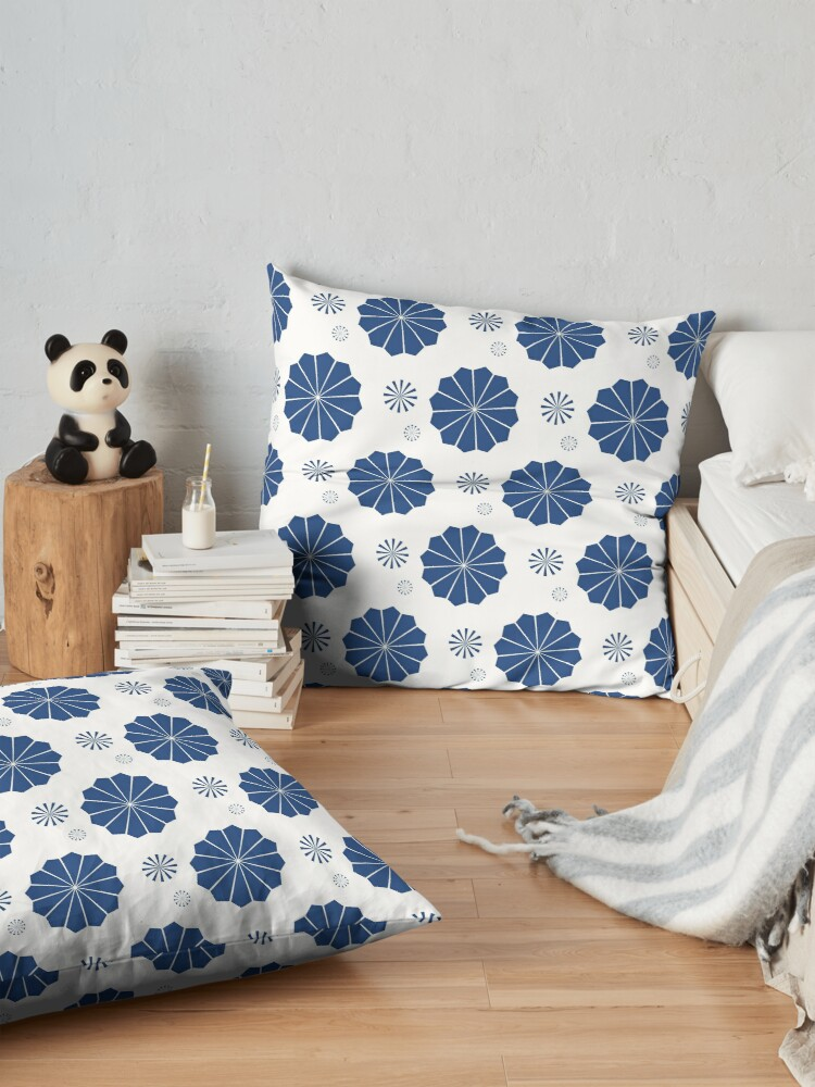 Alternate view of Blue and White Flowers Floor Pillow