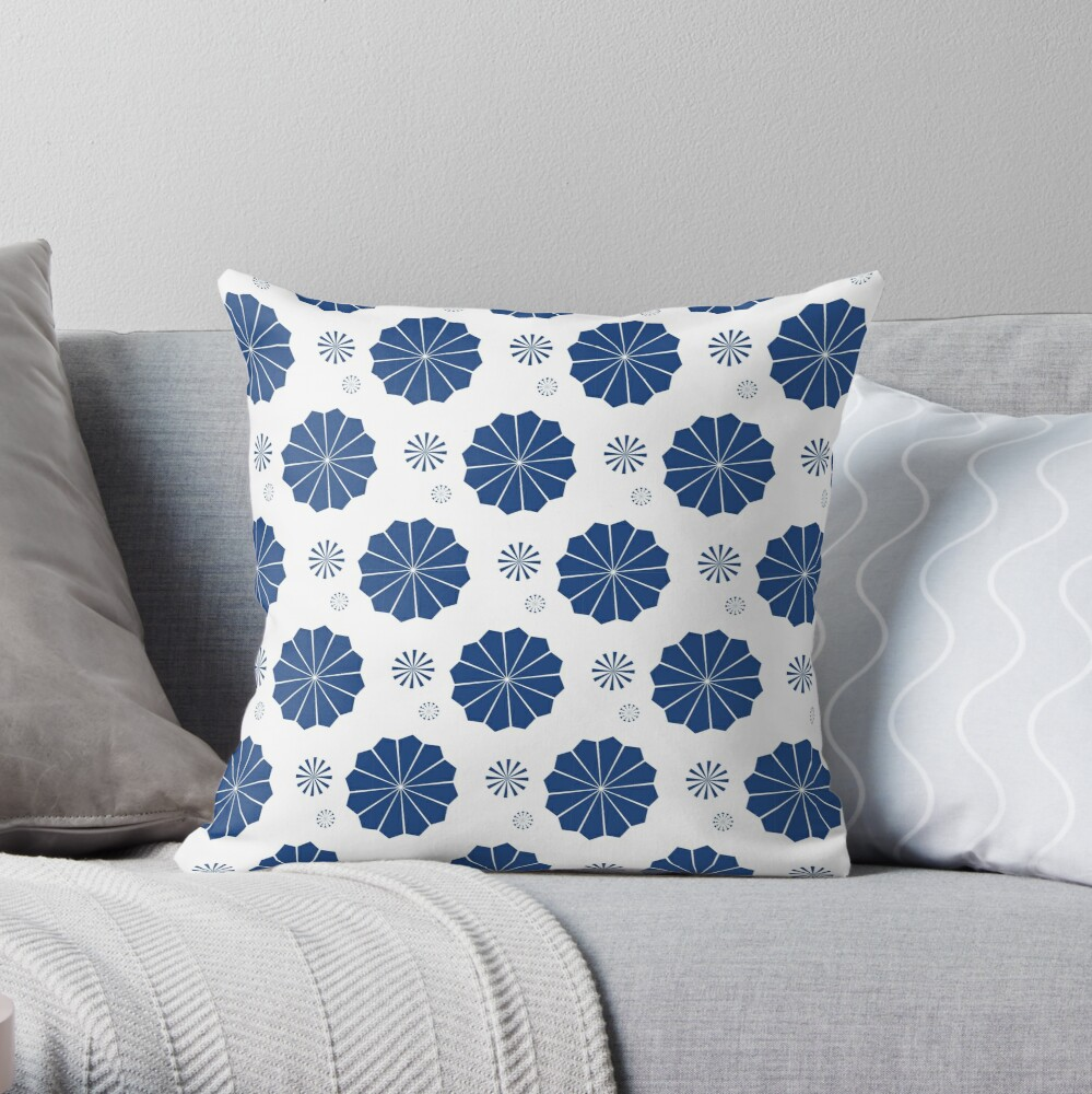 Blue and White Flowers Throw Pillow