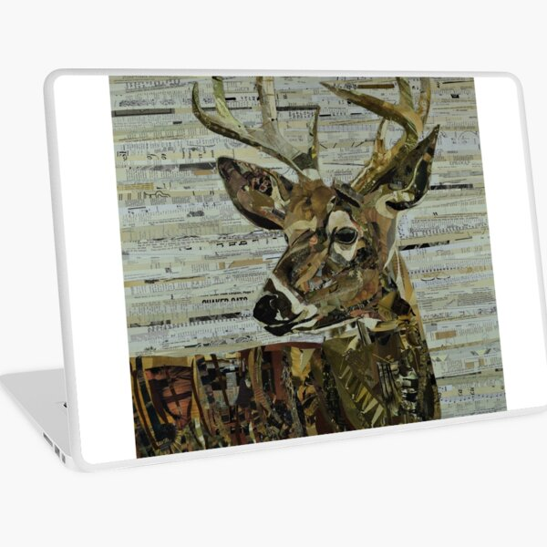 Whitetail Deer Collage Art Unique Laptop Skin