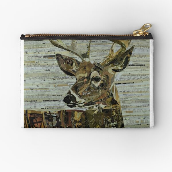 Whitetail Deer Collage Art Unique Zipper Pouch