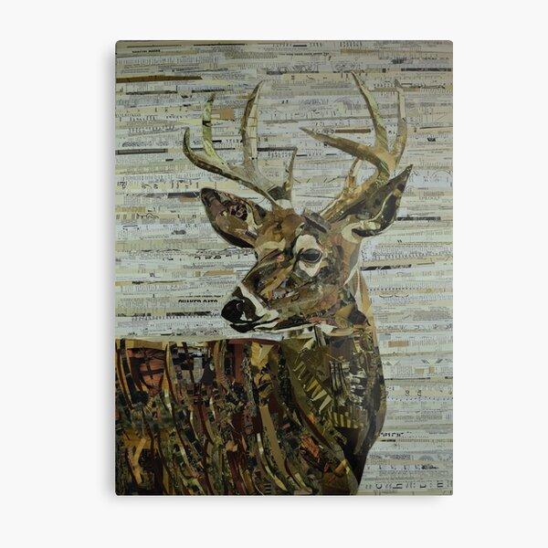 Whitetail Deer Collage Art Unique Metal Print