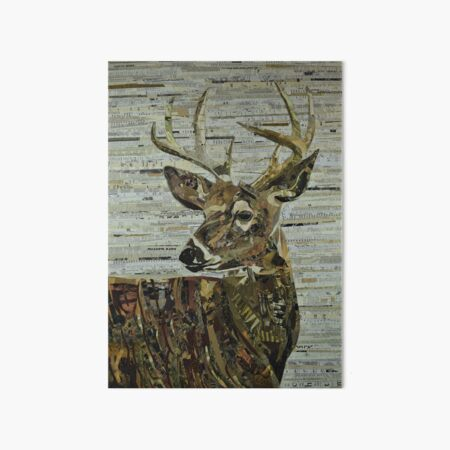 Whitetail Deer Collage Art Unique Art Board Print