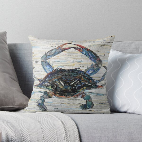 Blue Crab Collage Art Throw Pillow