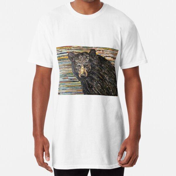 Black Bear Collage Art Unique Long T-Shirt