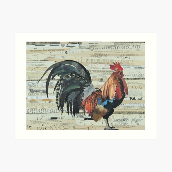 Rooster Collage Art Unique Art Print