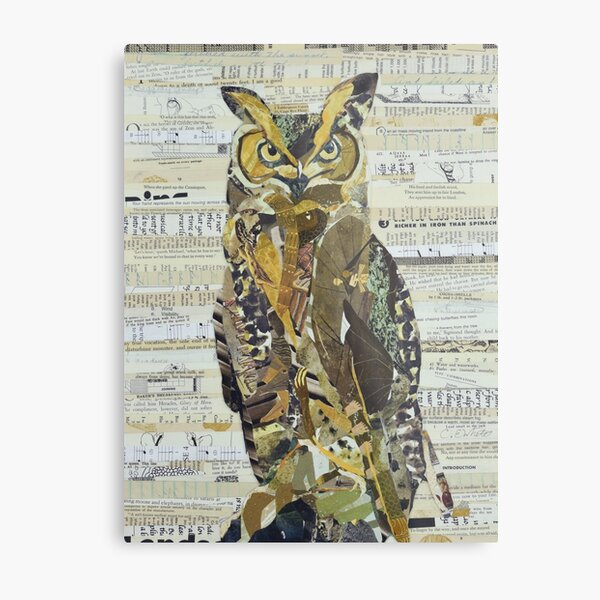 Great Horned Owl Unique Collage Art Metal Print