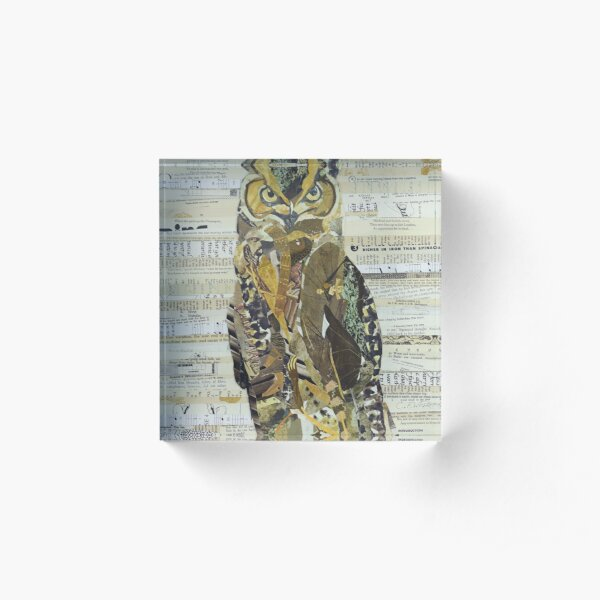 Great Horned Owl Unique Collage Art Acrylic Block
