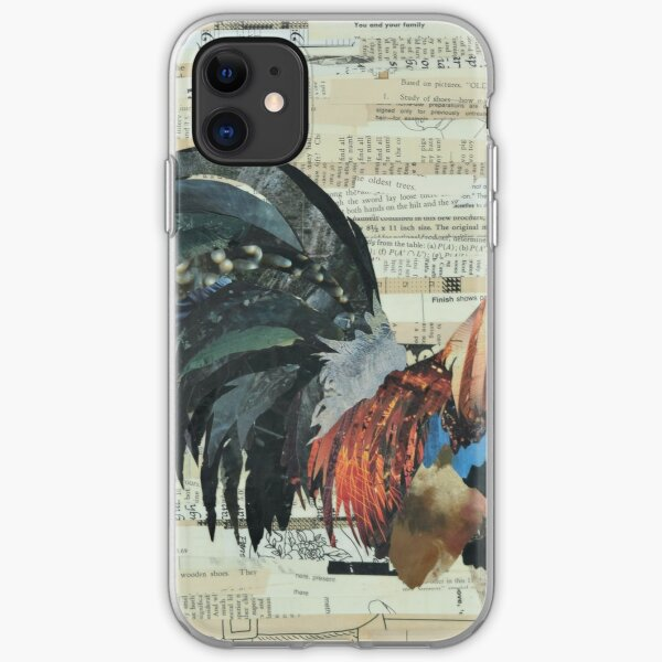 Rooster Collage Art Unique iPhone Soft Case