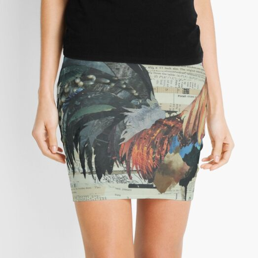 Rooster Collage Art Unique Mini Skirt