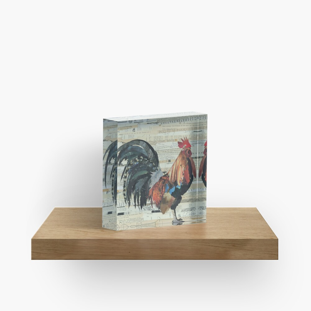 Rooster Collage Art Unique Acrylic Block