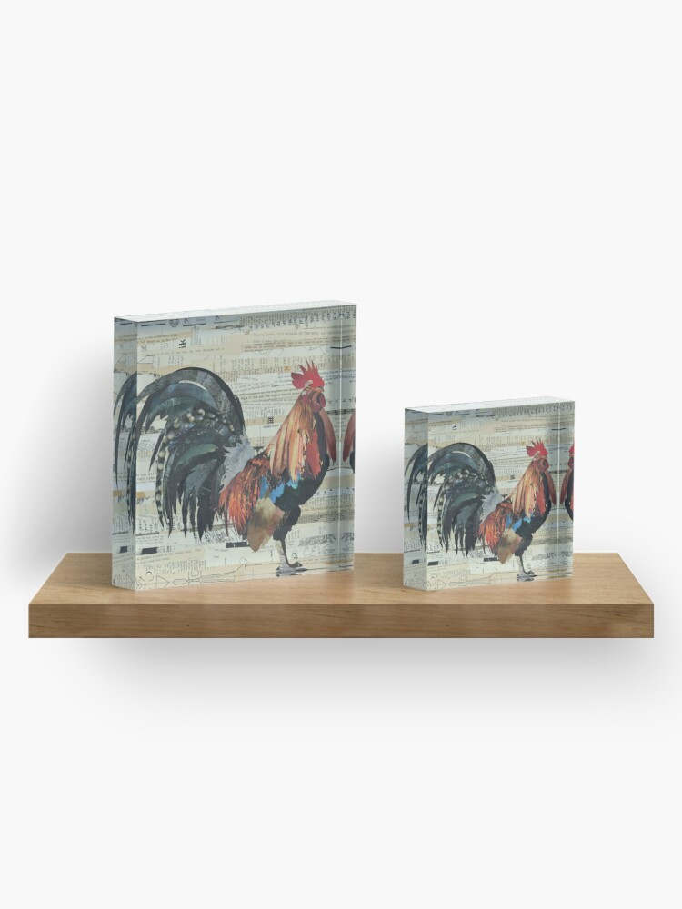 Alternate view of Rooster Collage Art Unique Acrylic Block