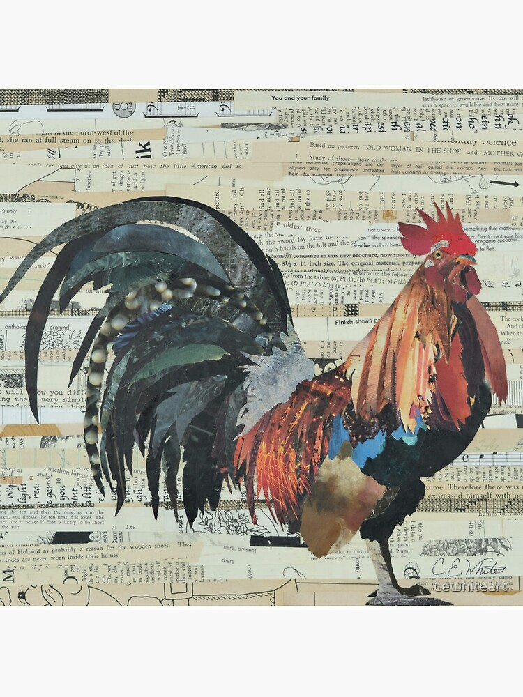 Rooster Collage Art Unique by cewhiteart