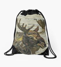 Eastern Moose Collage by C.E. White Drawstring Bag