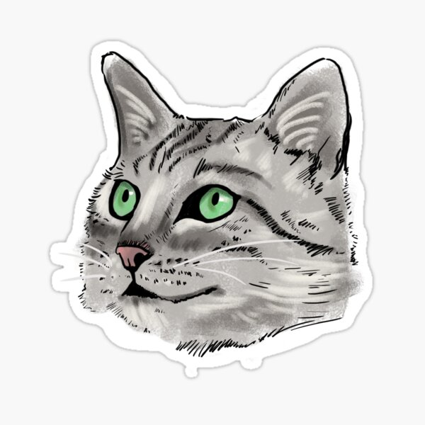 Grey Tabby Cat Sticker