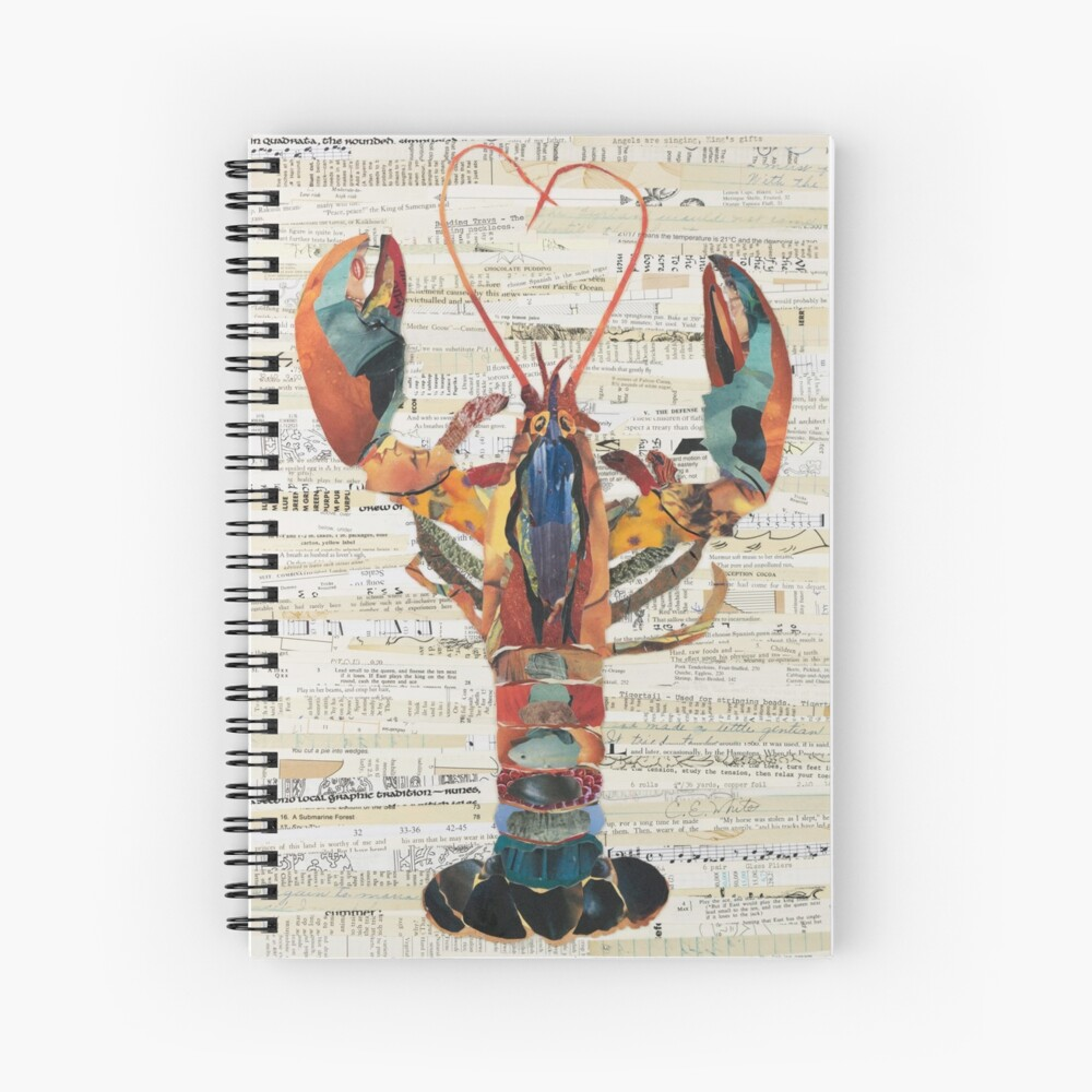Lobster Collage by C.E. White  Spiral Notebook