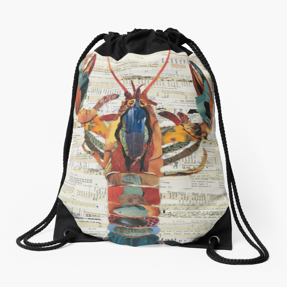 Lobster Collage by C.E. White  Drawstring Bag
