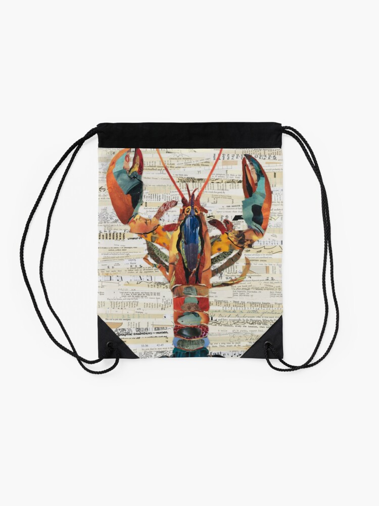 Alternate view of Lobster Collage by C.E. White  Drawstring Bag