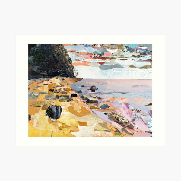 Rocky Beach Collage Art Art Print