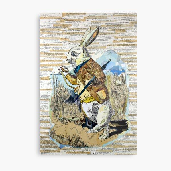 White Rabbit Alice in Wonderland Collage Art Metal Print