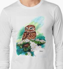 Owl on Cherry Blossoms Long Sleeve T-Shirt