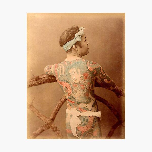 Tattooed Japanese man Photographic Print