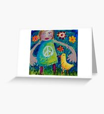 OLIVIA AND THE LOVEBIRD AMONG THE FLOWERS Greeting Card