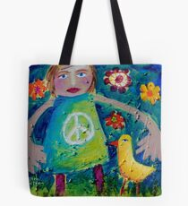 OLIVIA AND THE LOVEBIRD AMONG THE FLOWERS Tote Bag