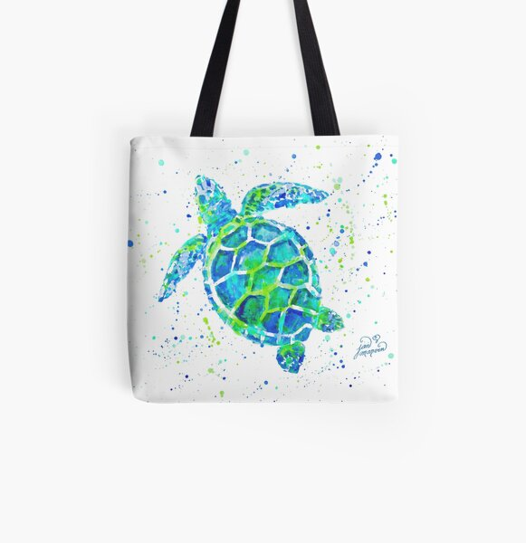 Sea Turtle by Jan Marvin All Over Print Tote Bag