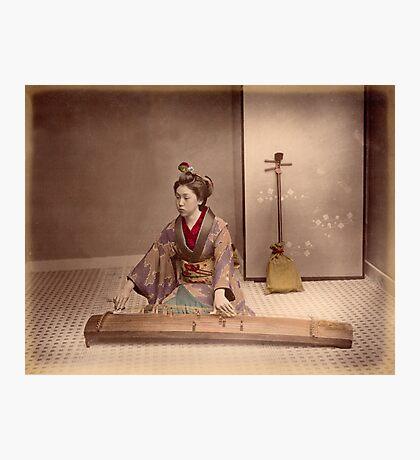 Japanese girl playing a koto Photographic Print