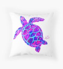 Sea Turtle Pink and Blue Throw Pillow