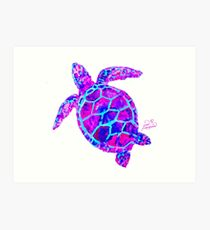 Sea Turtle Pink and Blue Art Print