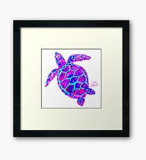Sea Turtle Pink and Blue Framed Print