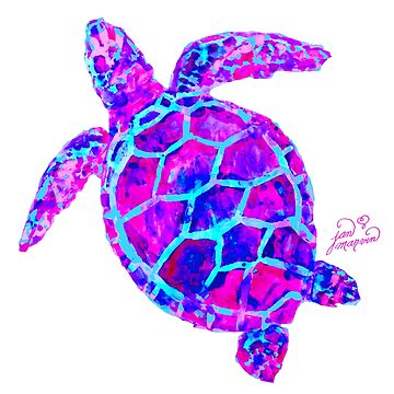 Sea Turtle Pink and Blue by janmarvin