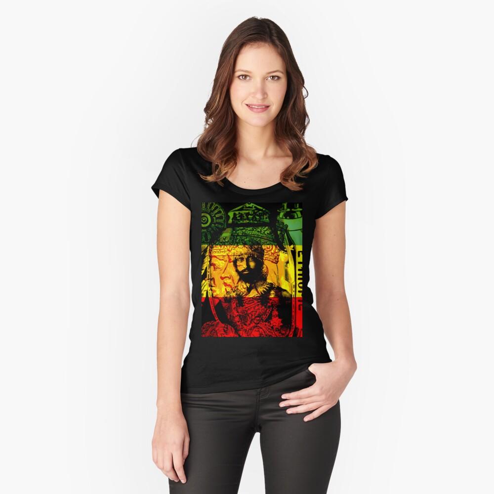 Rasta Haile Selassie Natural Mystic Lion of Judah Fitted Scoop T-Shirt