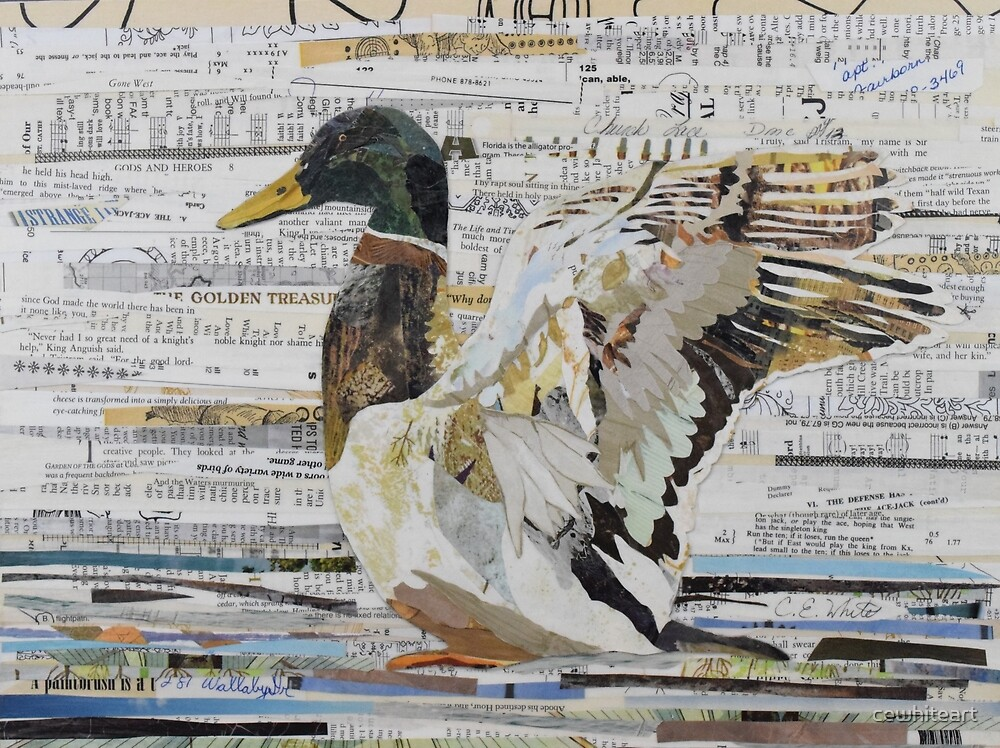 Mallard Duck Collage Art CE White Art by cewhiteart