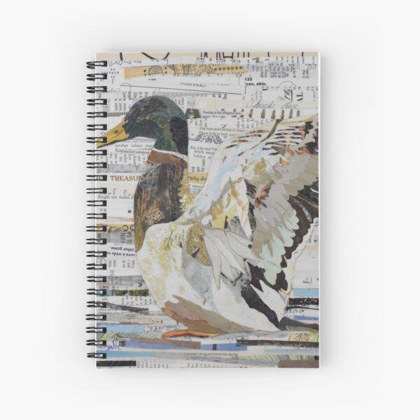 Mallard Duck Collage Art CE White Art Spiral Notebook