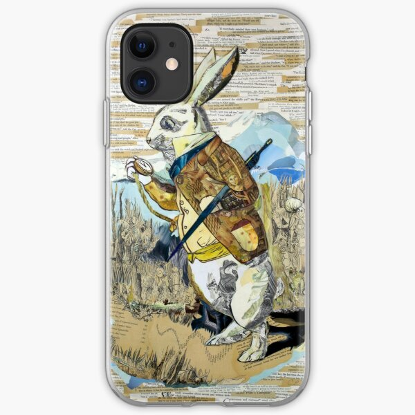 White Rabbit Alice in Wonderland Collage Art iPhone Soft Case