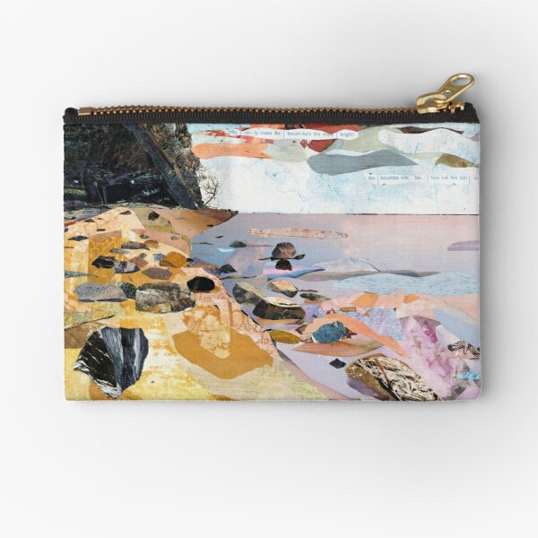 Rocky Beach Collage Art Zipper Pouch