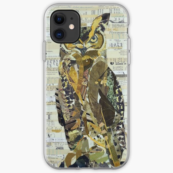 Great Horned Owl Unique Collage Art iPhone Soft Case